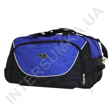 Купить сумка спортивная на колёсах Wallaby 10428 (объем 57л) черная с ярко-синими вставками