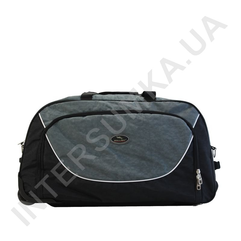 f2f71ea64835 ... сумка спортивная на колёсах Wallaby 10428 (объем 57л) черная с серыми  вставками фото 2 ...
