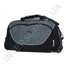 сумка спортивна на колесах Wallaby 10428 (объєм 57л) чорна з сірими вставками