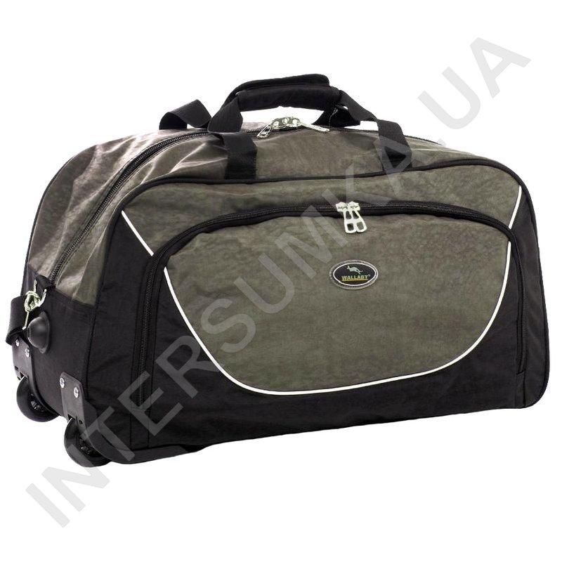 Заказать сумка спортивна на колесах Wallaby 10428 (обсяг 57л) чорна зі  вставками кольору хакі e159300da2a68