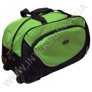 сумка спортивная на колёсах Wallaby 10428 (объем 57л) черная с ярко-зелеными вставками