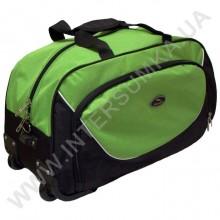 сумка спортивна на колесах Wallaby 10428 (обсяг 57л) чорна з яскраво-зеленими вставками