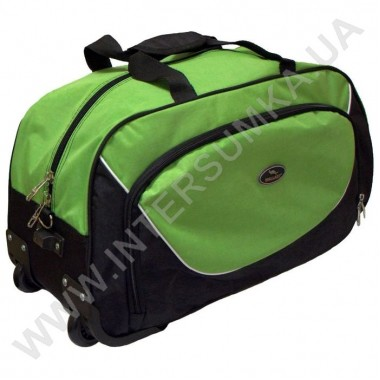 Заказать сумка спортивная на колёсах Wallaby 10428 (объем 57л) черная с ярко-зелеными вставками