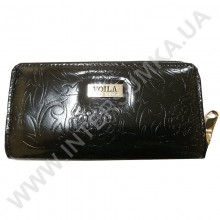 Шкіряний жіночий гаманець Voila (Wallaby) 0038 чорний квітка