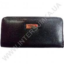 Кошелек кожаный женский Voila (Wallaby) 0038 черная змея