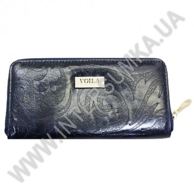 Купить Кошелек кожаный женский Voila (Wallaby) 0038 синий цветок