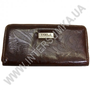 Купить Кошелек кожаный женский Voila (Wallaby) 0038 коричневый цветок