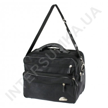 Заказать сумка мужская на 2 отдела полу-каркас с пластмассовой ручкой Wallaby 26531 черная в Intersumka.ua