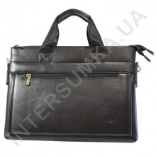 портфель зі шкірозамінника Polo тисячу вісімсот сімдесят шість чорний, три відділу