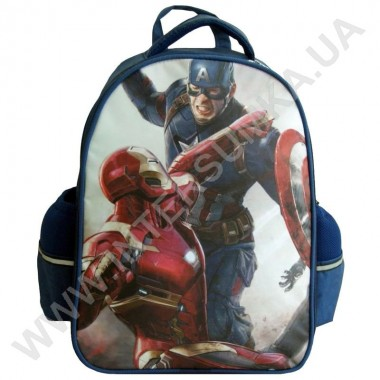 Заказать рюкзак детский YO с ортопедической спинкой 114 Капитан Америка синий на 2 отдела