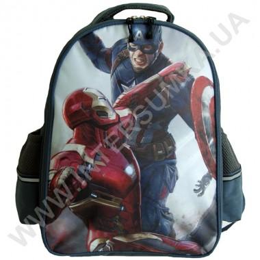 Заказать рюкзак детский YO с ортопедической спинкой 114 Капитан Америка серый на 2 отдела в Intersumka.ua