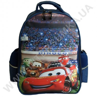 Заказать рюкзак детский YO с ортопедической спинкой 114 тачки синий на 2 отдела