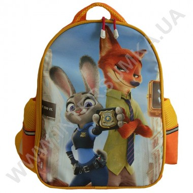 Заказать рюкзак детский YO с ортопедической спинкой 114 зверополис оранжевый на 2 отдела
