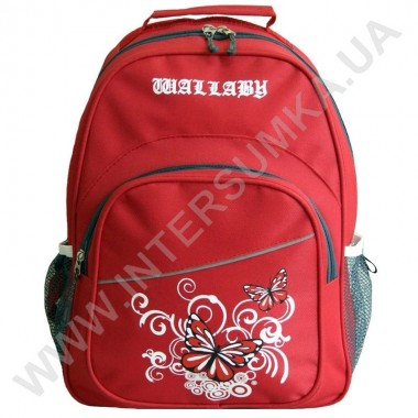 Заказать рюкзак Wallaby 115 накатка бабочки красный в Intersumka.ua