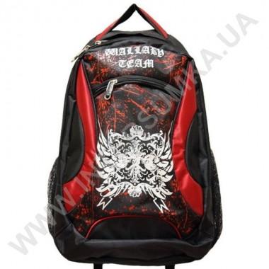 Заказать рюкзак 2 отдела, наружный карман Wallaby 122 черно-красный в Intersumka.ua