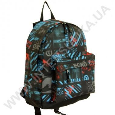 Заказать рюкзак молодежный Wallaby 1353 черный с синим рисунком в Intersumka.ua