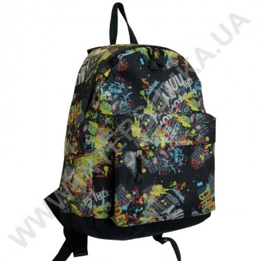 Заказать рюкзак молодежный Wallaby 1353 черный с желтым рисунком