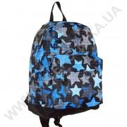 рюкзак молодежный Wallaby 1353 черный с синим рисунком звезды
