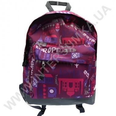 Заказать рюкзак молодежный Wallaby 1353 серый с бордовым рисунком
