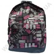 рюкзак молодежный Wallaby 1353 серый с розовым рисунком