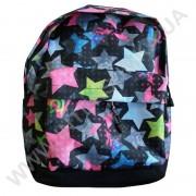 рюкзак молодежный Wallaby 1353 черный с розовым рисунком звезды