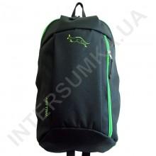 рюкзак міський молодіжний Wallaby 151 чорний з яскраво-зеленою обробкою