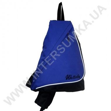 Заказать рюкзак городской на одной лямке на два отдела Wallaby 170 черный с синим