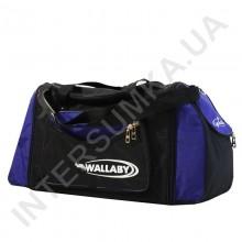сумка спортивная с расширением Wallaby 475 черная с ярко-синими вставками