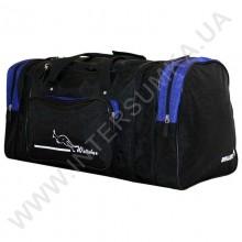 сумка спортивная с расширением Wallaby 375 черная с ярко-синими вставками из жатки