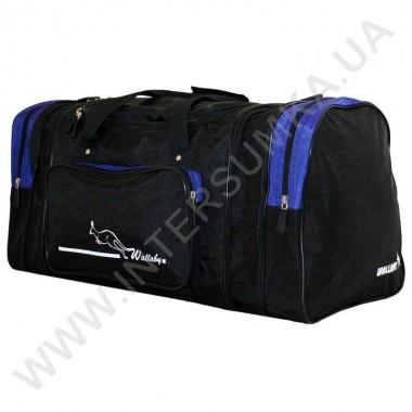 Заказать сумка спортивная с расширением Wallaby 375 черная с ярко-синими вставками из жатки в Intersumka.ua