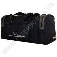 сумка спортивная с расширением Wallaby 375 черная со вставками цвета хаки из жатки