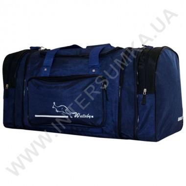 Купить сумка спортивная с расширением Wallaby 375 синяя с черными вставками из жатки