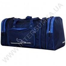 сумка спортивная с расширением Wallaby 375 синяя с голубыми вставками из жатки