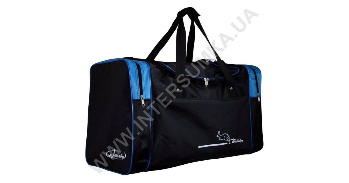 купити спортивну сумку Wallaby 430 чорну з блакитними вставками в Києві 074becda3f684