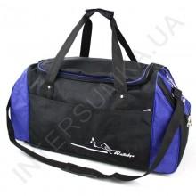 сумка спортивна Wallaby 447 чорна з яскраво-синіми вставками