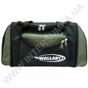 сумка спортивная с расширением Wallaby 475 черная со вставками цвета хаки