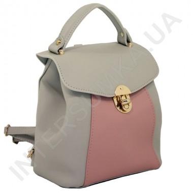 Заказать Женский рюкзак Wallaby 55549349 серый+розовый ЭКОКОЖА